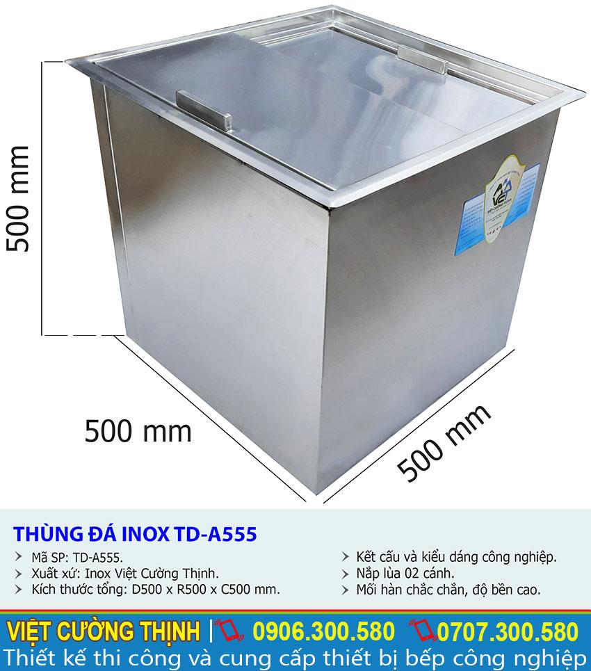 Thông số kỹ thuật thùng đá inox âm bàn