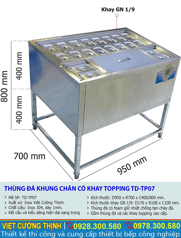 Thông số kỹ thuật Tủ đá khung chân có khay topping TD-TP07