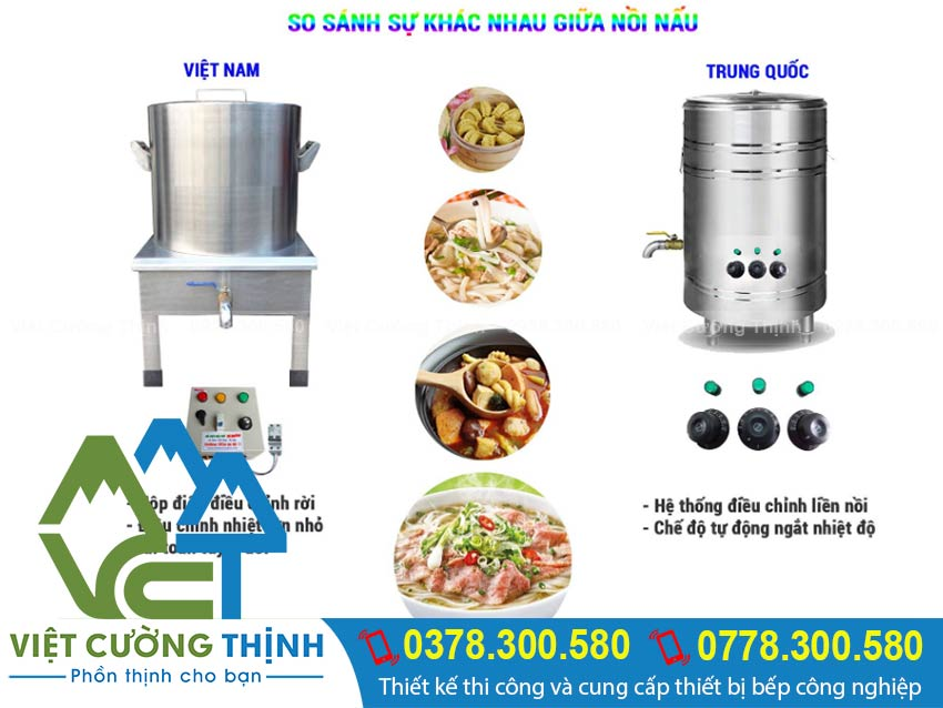So sánh giưa nòi nấu hủ tiếu bằn g điện giữa Trung Quốc Và Việt Nam