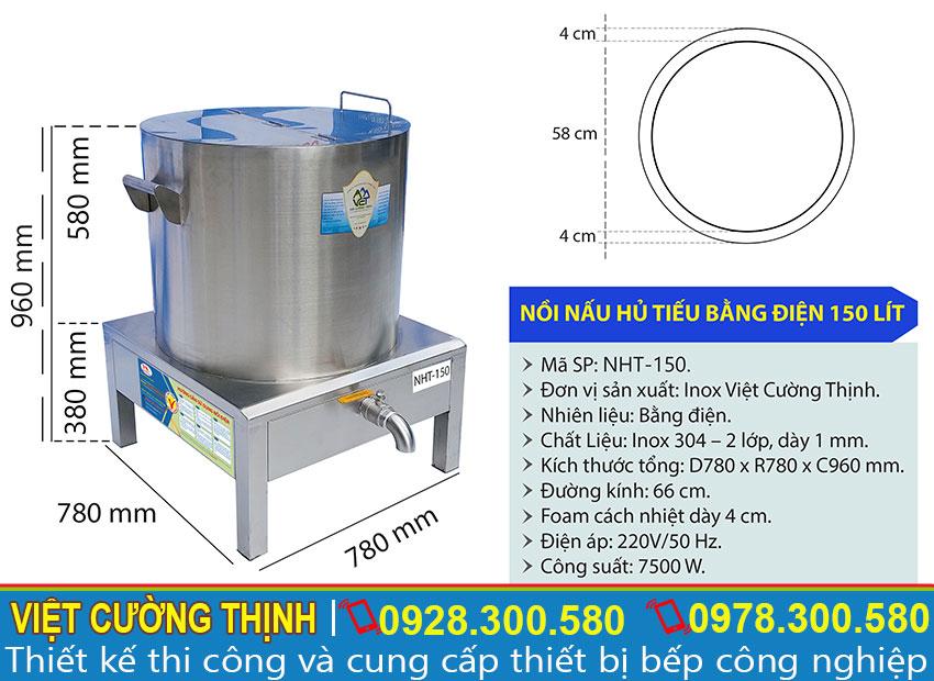 Thông số kỹ thuật nồi nấu hủ tiếu bằng điện 150 lít