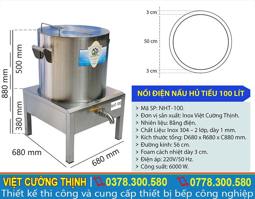 Thông số kỹ thuật nồi nấu hủ tiếu điện 100 lít