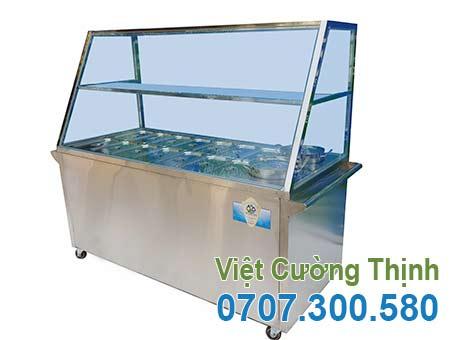 Tủ hâm nóng thức ăn 14 khay 2 nồi, tủ trưng bày giữ nóng thức ăn 14 khay và 2 nồi giá tại xưởng VCT.