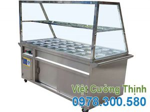 Tủ hâm nóng thức ăn 16 khay, tủ hâm nóng thực phẩm, quầy trưng bày hâm nóng thức ăn giá tốt tại Inox Việt Cường Thịnh.