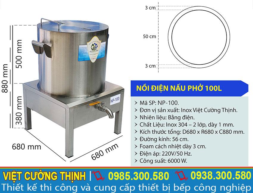 Thông số kỹ thuật nồi điện nấu phở 100L NP-100