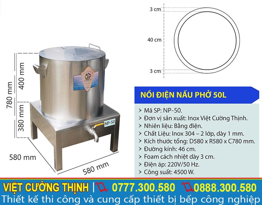 Thông số kỹ thuật nồi điện nấu phở 50L NP-50