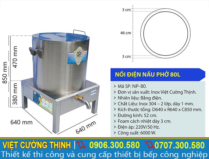 Thông số kỹ thuật nồi điện nấu phở 80L NP-80
