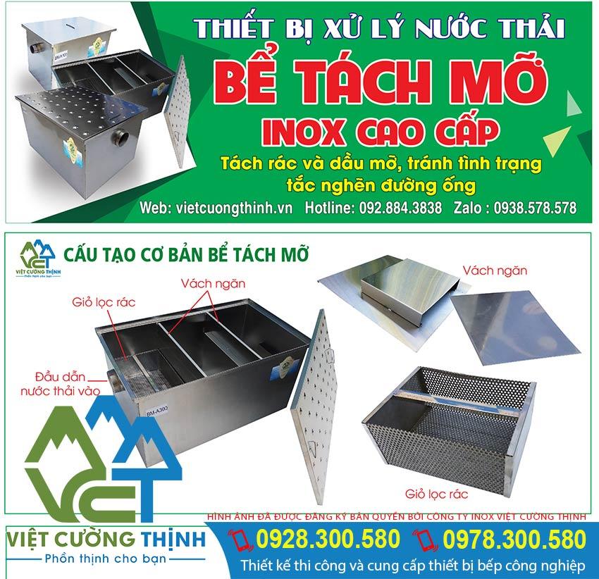 Cấu tạo bể tách mỡ inox, thùng lọc mỡ, bẫy mỡ inox hay còn gọi là hộp lọc mỡ inox tại VCT.