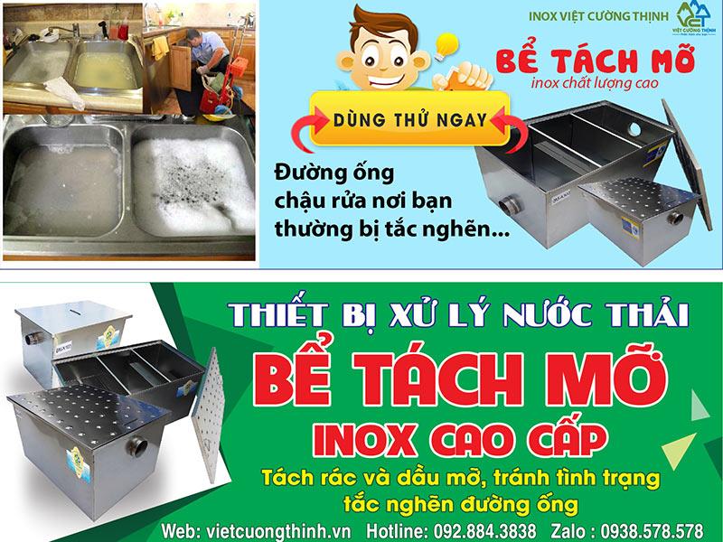 Địa chỉ bán bể tách mỡ inox nhà hàng, gia đình và công nghiệp uy tín tại TP HCM, Inox Việt Cường Thịnh.