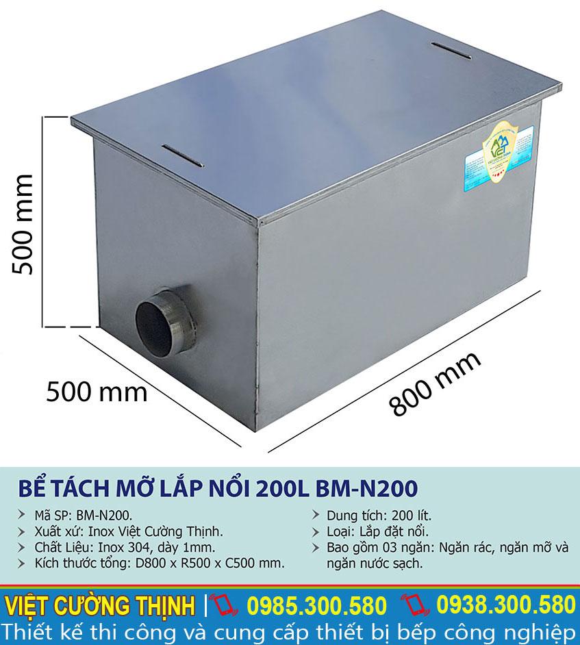 Thông số kỹ thuật bể tách dầu mỡ inox 200l công nghiệp BM-N200