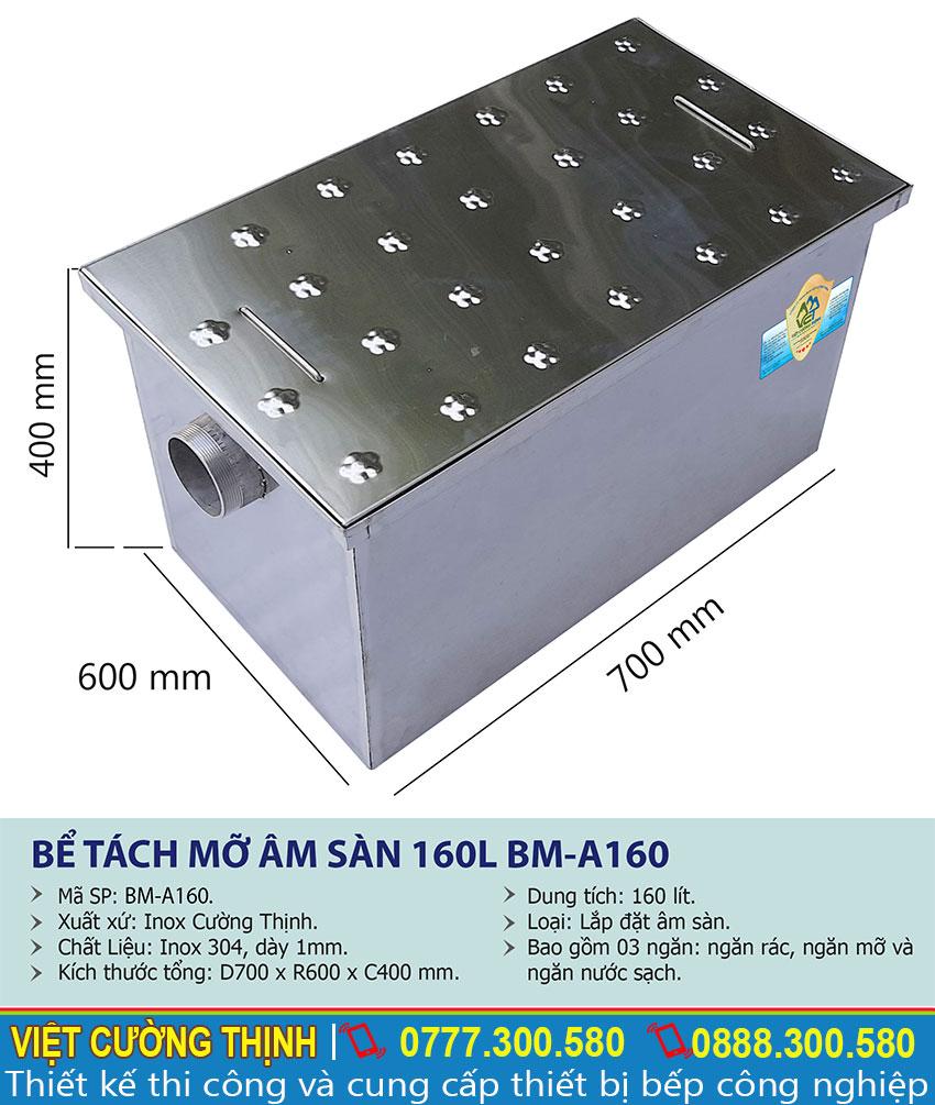 Kích thước bể tách mỡ âm sàn 160l BM-A160