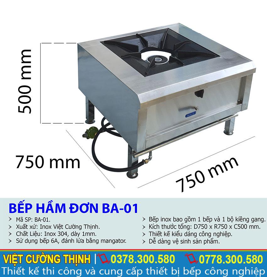 Thông số kỹ thuật Bếp hầm đơn BA-01