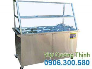 Tủ hâm nóng thức ăn 8 khay và 2 nồi, tủ trưng bày hâm nóng thức ăn 8 khay và 2 nồi giá tốt tại Inox Việt Cường Thịnh.