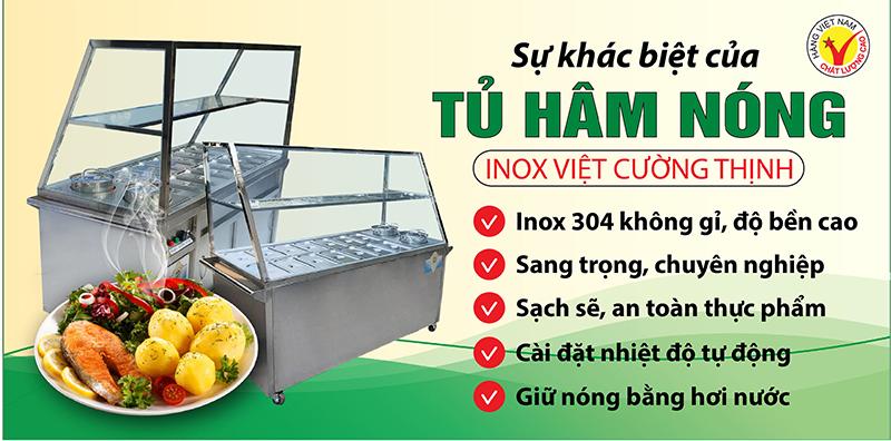 Tủ trưng bày hâm nóng và giữ nóng thức ăn luôn làm thức ăn ấm nóng an toàn vệ sinh thực phẩm.