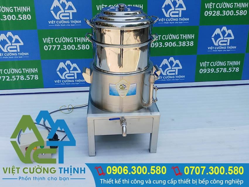 Sản phẩm nồi hấp cơm tấm bằng điện 2 tầng giá tốt tại xưởng sản xuất Inox Việt Cường Thịnh chuyên cung cấp nồi hấp điện công nghiệp chính hãng ra thị trường.