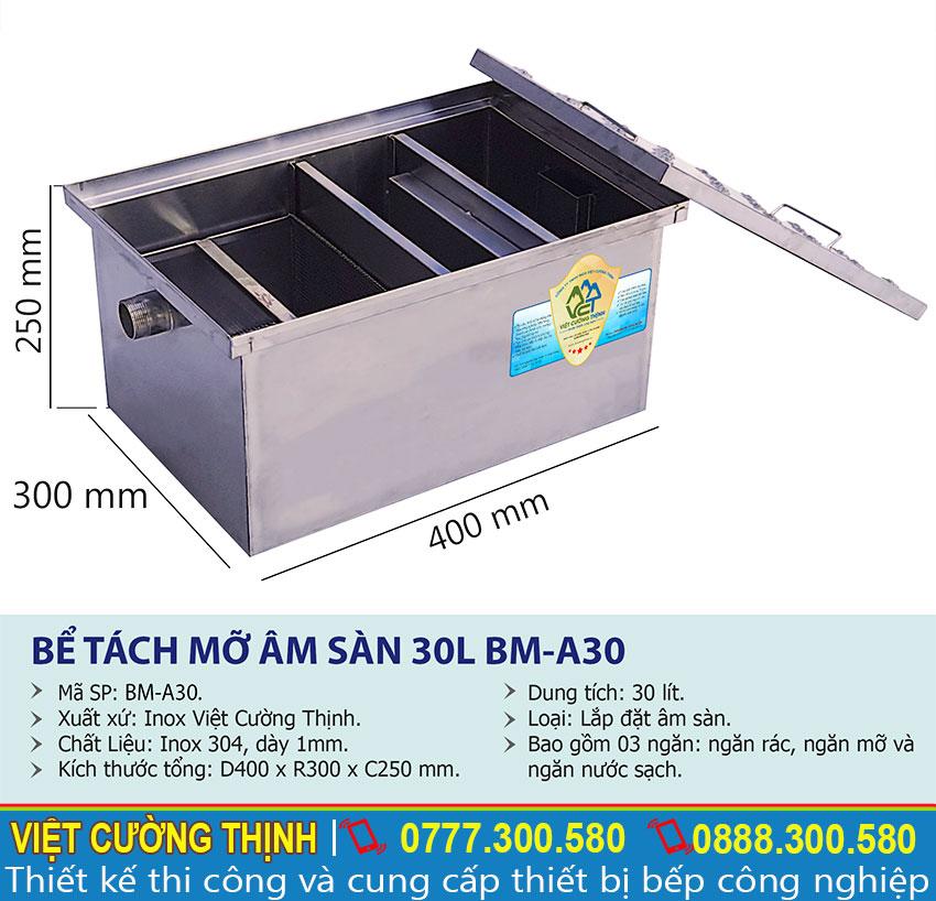 Thông số kỹ thuật bể tách mỡ gia đình 30L BM-A30