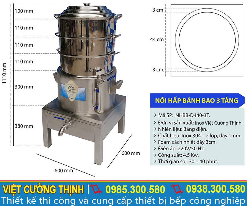 Kích thước nồi hấp bánh bao xửng hấp cách thủy công nghiệp 3 tầng size D440mm
