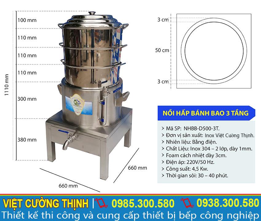 Nồi hấp bánh bao công nghiệp 3 tầng hấp cách thủy có kích thước D500mm tại xưởng sản xuất Inox Việt Cường Thịnh liên hệ mua ngay.