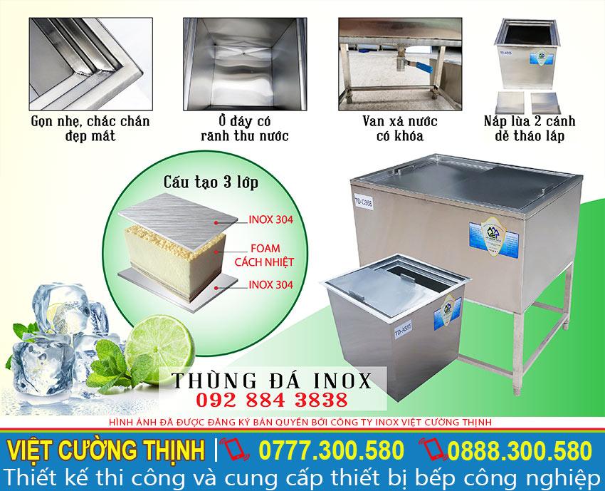 Cấu tạo thùng đá inox 304, sản phẩm thùng đá inox, thùng chứa đá inox các loại thùng đá inox có chân đứng, thùng đá inox âm bàn hoặc sản xuất thùng đá inox có khay topping thương hiệu VCT liên hệ ngay.