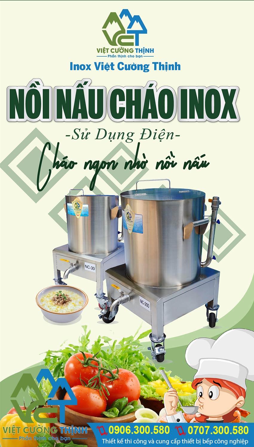Địa chỉ bán nồi nấu cháo công nghiệp bằng điện, nồi nấu cháo bằng điện Inox giá tốt tại TP HCM. Liên hệ Inox Việt Cường Thịnh Ngay.