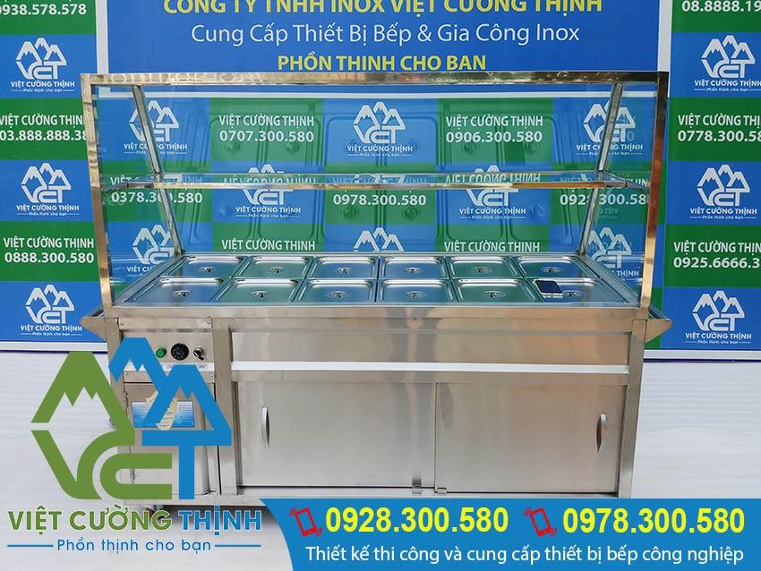 Địa chỉ mua tủ hâm nóng thức ăn có 12 khay lớn uy tín tại TP HCM. Liên hệ Inox Việt Cường Thịnh ngay hoặc yêu cầu sản xuất theo đơn hàng.