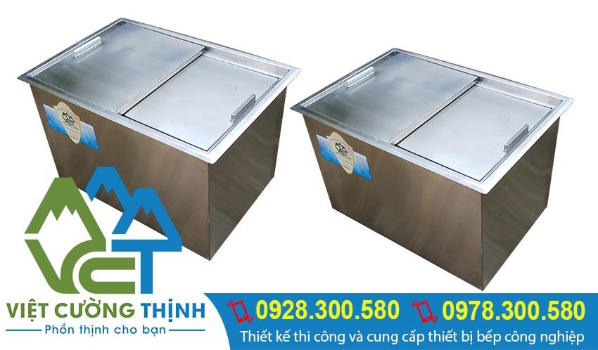 Sản phẩm mới 100% thùng đá inox 304 âm bàn, thùng đá inox âm được lắp âm trong quầy bar inox được Việt Cường Thịnh sản xuất theo yêu cầu.