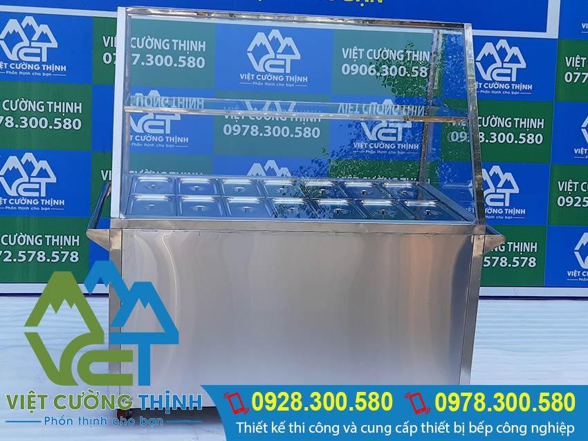 Tủ giữ nóng thức ăn 14 khay được Inox Việt Cường Thịnh sản xuất cho quý khách hàng yêu câu và luôn có mẫu sẵn tại showroom.
