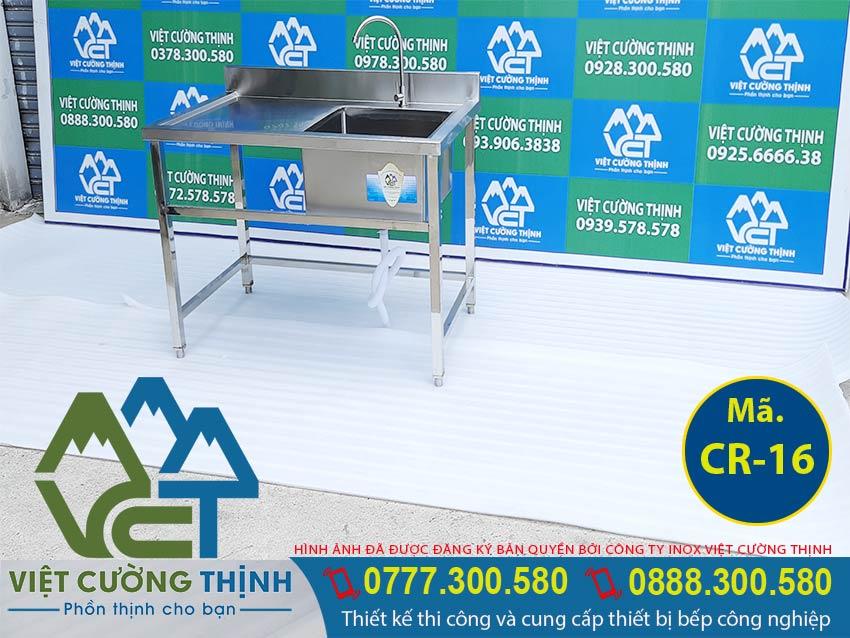 Chậu Rửa Đơn Cánh Trái CR-16, bồn rửa inox công nghiệp inox có chân cao.