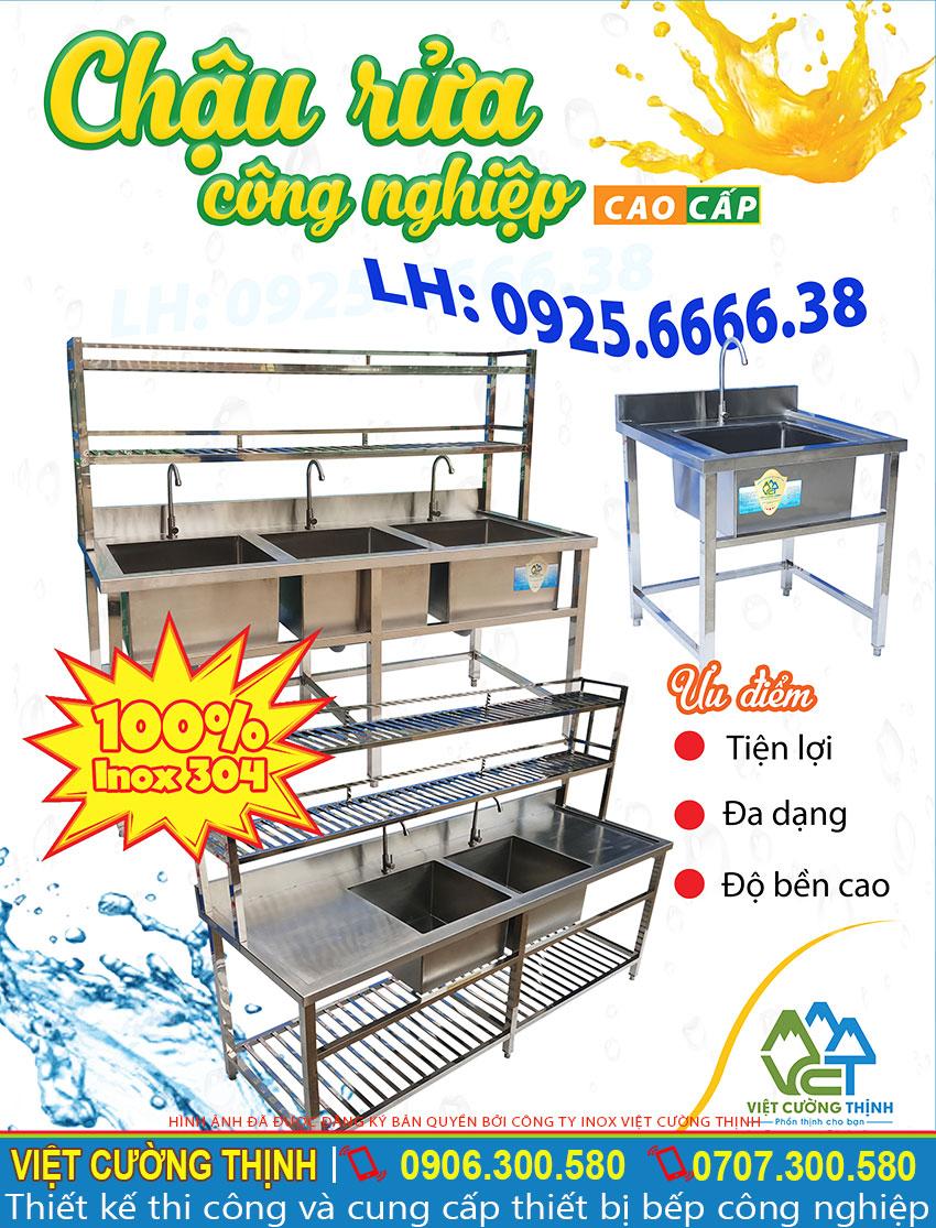 Chậu rửa inox 304 công nghiệp tại xưởng, Chậu rửa inox, chậu rửa chén bát nhà hàng, chậu rửa inox các loại được Việt Cường Thịnh sản xuất theo yêu cầu hoặc mẫu có sẵn.