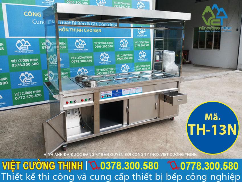 Địa chỉ bán tủ hâm nóng thức ăn 10 khay 2 nồi được thiết kế mái che inox, tủ hâm nóng thức ăn giá tốt.