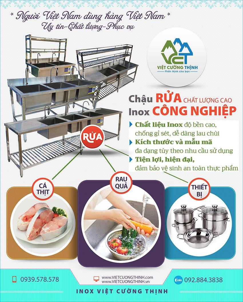 Báo giá bồn rửa công nghiệp inox có khung chân. Liên hệ Việt Cường Thịnh ngay để mua chậu rửa inox theo đơn hàng nhé!