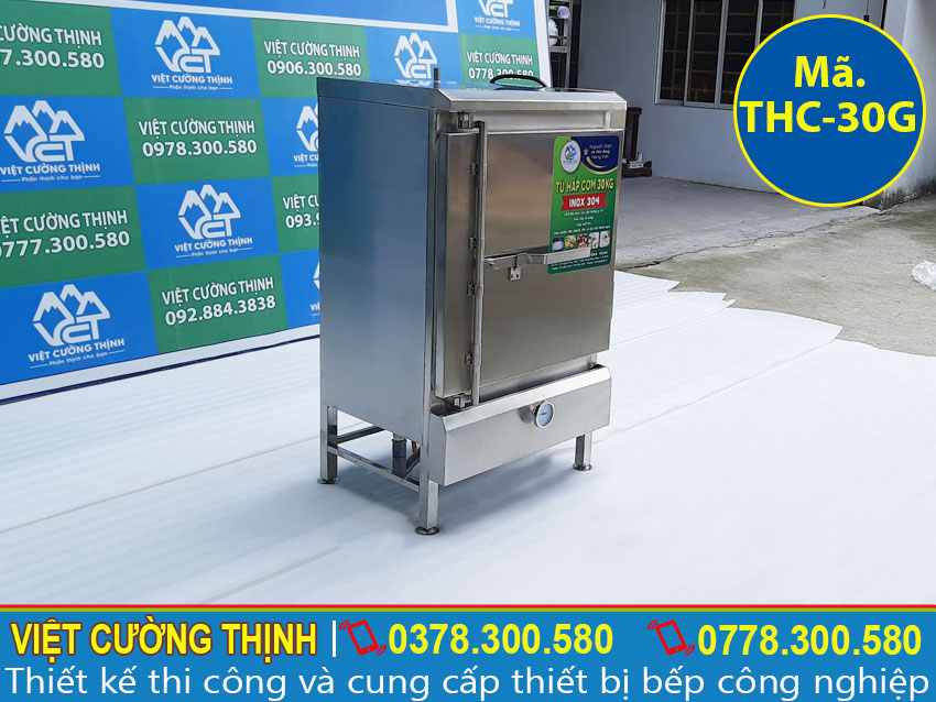 Góc trái tủ nấu cơm công nghiệp 30kg sử dụng gas