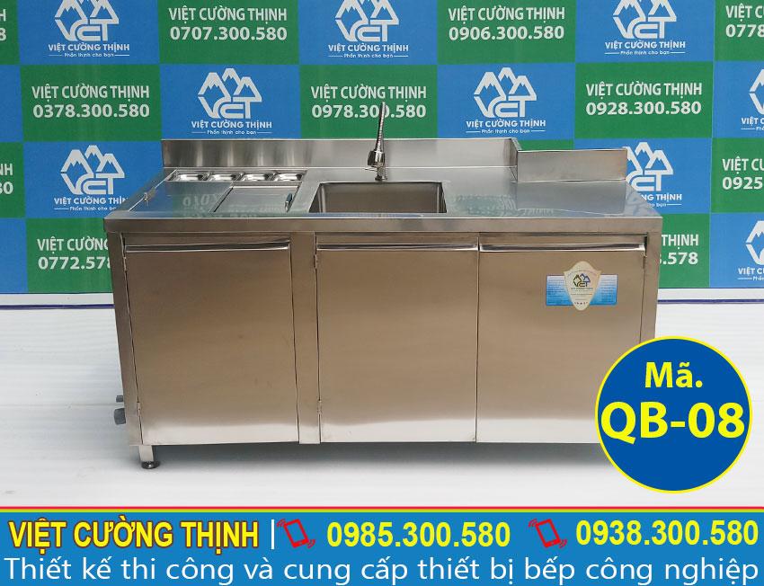 Mẫu thiết kế quầy pha chế trà sữa inox qb-08