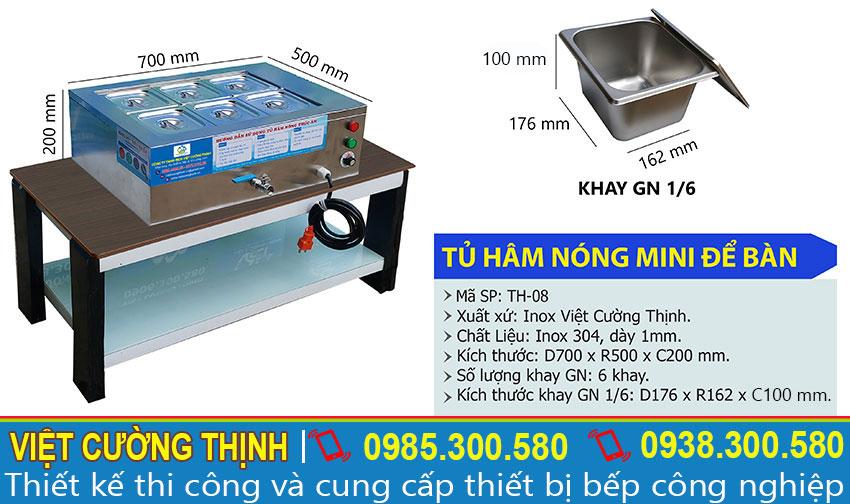Thông số kỹ thuật máy hâm nóng thức ăn mini để bàn