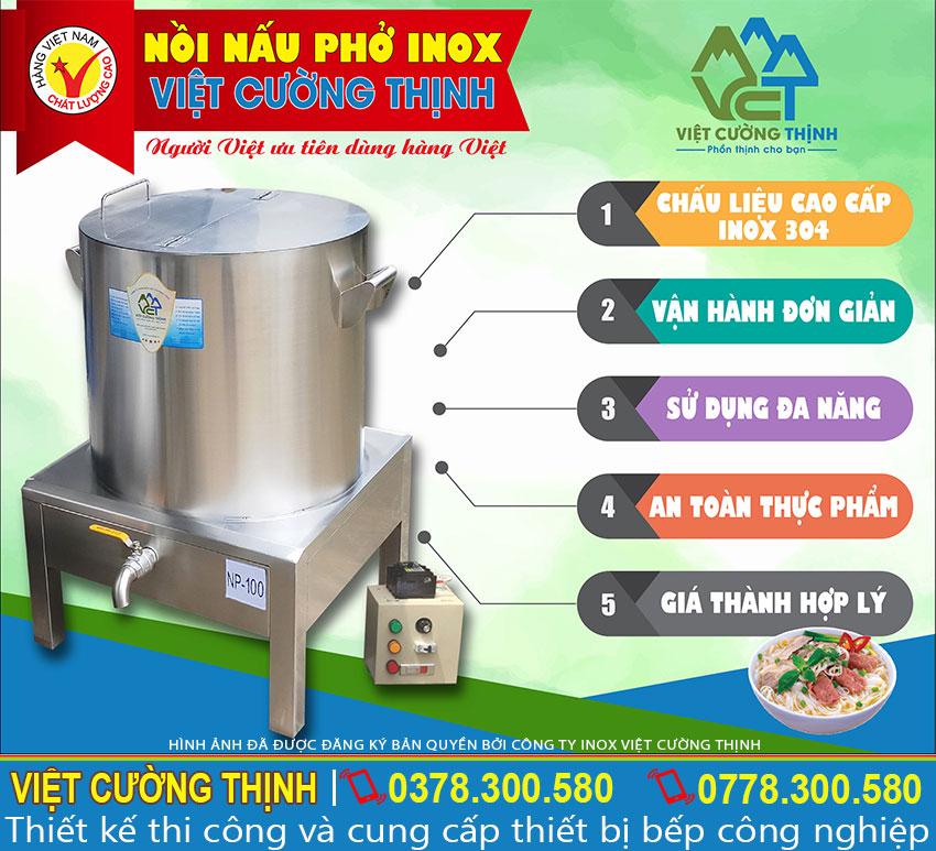 Địa chỉ mua nồi điện nấu phở, nồi nấu phở inox, nồi nấu phở bằng điện uy tín. Liên hệ Inox Việt Cường Thịnh.