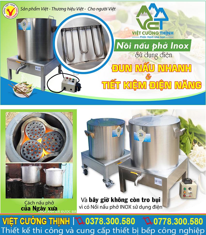 Nồi nấu phở bằng điện giá tốt, nồi nấu nước phở bằng điện, nồi điện nấu phở với dung tích đa dạng tại xưởng Inox Việt Cường Thịnh. Liên hệ Mua ngay.