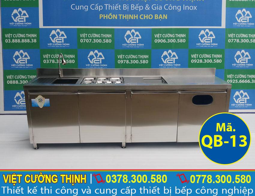 Quầy bar pha chế trà sữa 2m3 không kệ trên qb-13