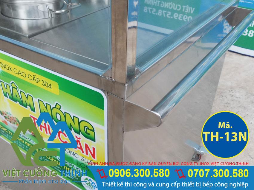 Thiết kế tủ hâm nóng thức ăn inox có mái che và 10 khay 2 nồi rất chuyên nghiệp đẹp và an toàn khi sử dụng.