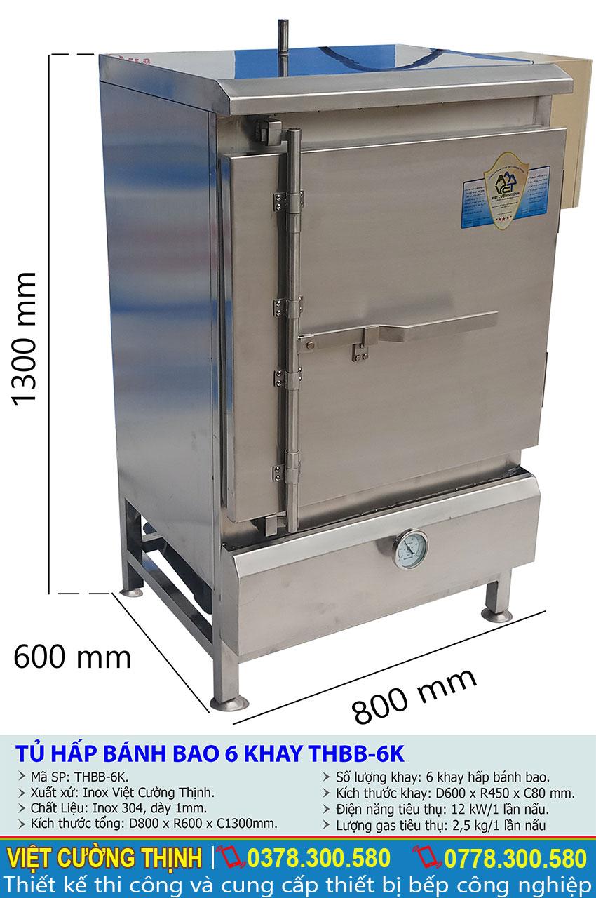Thông số kỹ thuật Tủ hấp bánh bao 6 khay THBB-6K