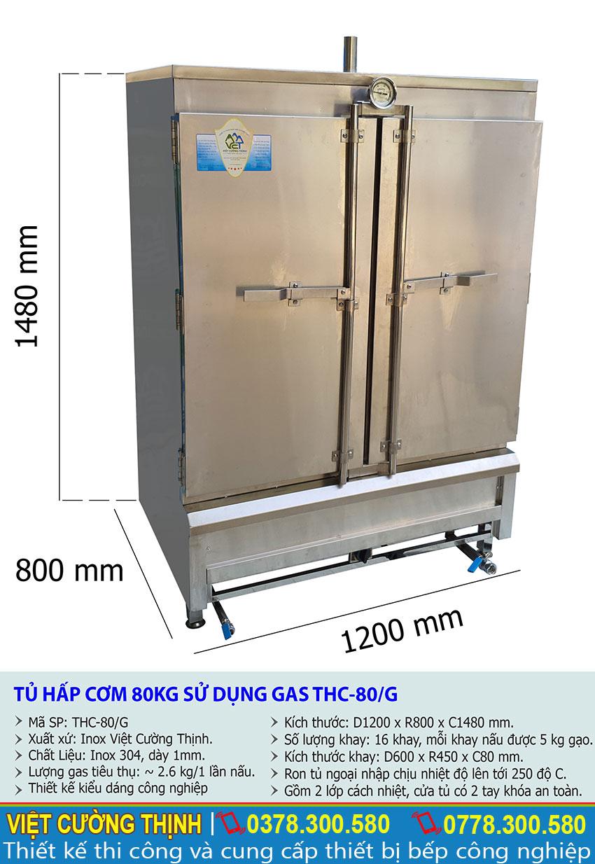 Thông số kỹ thuật tủ nấu cơm công nghiệp sử dụng gas THC-50/G
