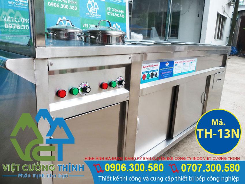 Tủ hâm nóng thức ăn bằng điện có mai che, tủ hâm nóng thức ăn 10 khay và 2 nồi có mái che inox bên trên.