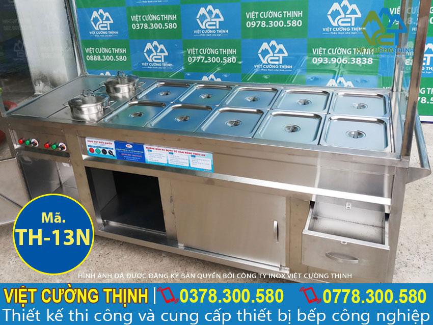 Tủ hâm nóng thức ăn có mái che, tủ hâm nóng thức ăn thiết kế mái che và 10 khay 2 nồi.