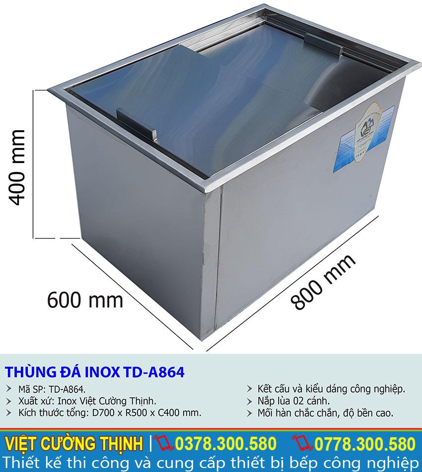 Thông số kỹ thuật thùng đá inox