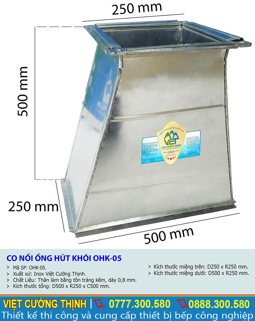 Thông số kỹ thuật co nối ống hút khói