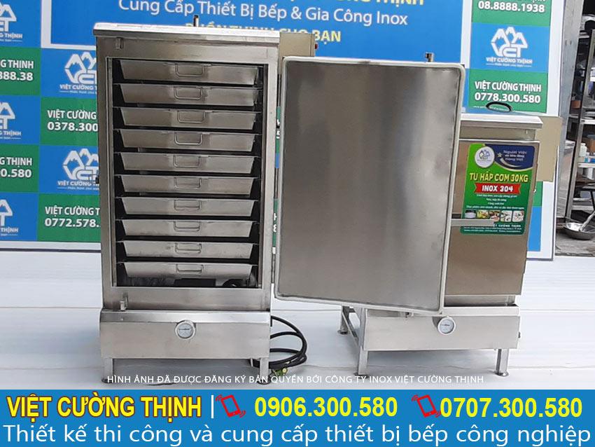 Báo giá tủ hấp cơm công nghiệp, tủ hấp cơm 50kg và 30kg, tủ cơm công nghiệp.