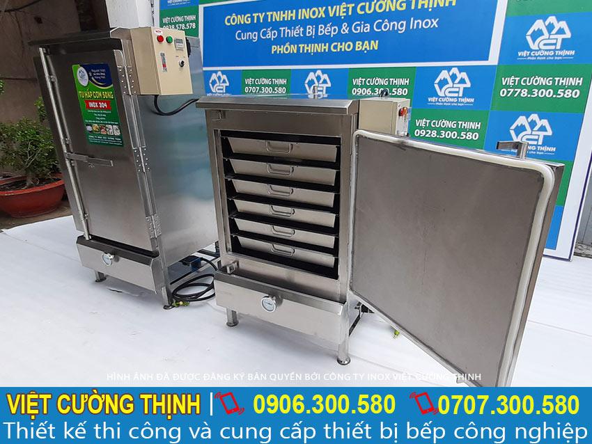 Địa chỉ mua tủ hấp cơm công nghiệp uy tín tại TP HCM, tủ cơm công nghiệp giá tốt tại xưởng sản xuất Inox Việt Cường Thịnh.