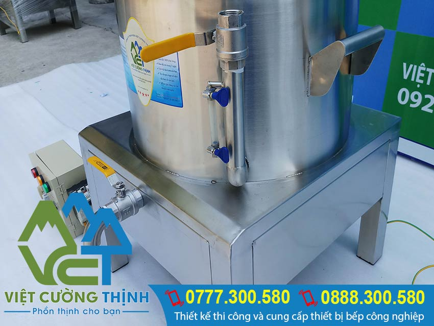 Chi tiết phần ống thủy của nồi nấu cháo công nghiệp bằng điện, nồi nấu cháo bằng điện, nồi điện nấu cháo công nghiệp.