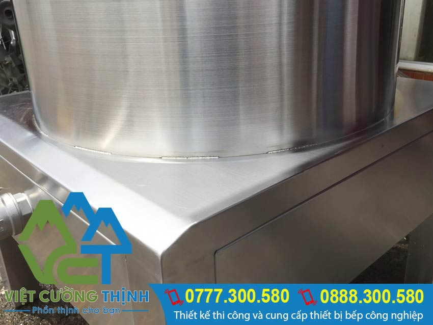 Phần chân đế của nồi nấu cháo công nghiệp bằng điện, nồi điện nấu cháo công nghiệp chất liệu inox 304.