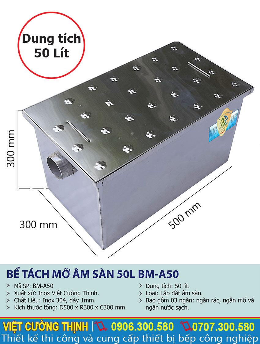 Thông số kích thước thùng lọc mỡ âm sàn 50L