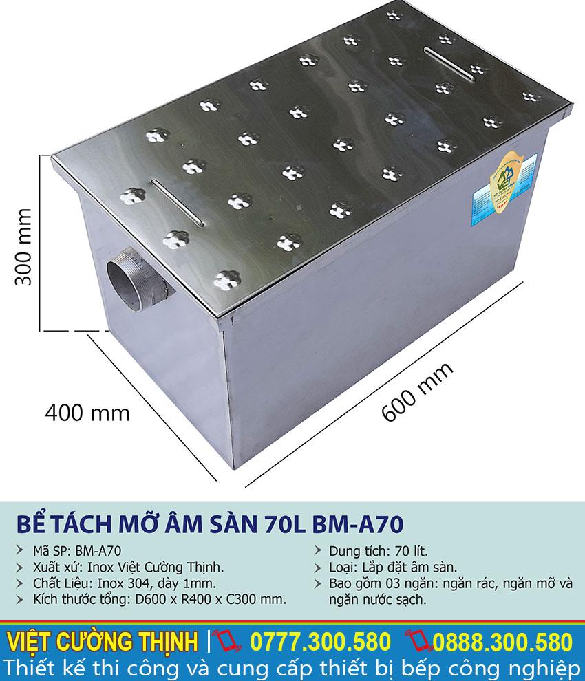 Thông số kỹ thuật bể tách mỡ nhà hàng âm sàn 70l BM-A70