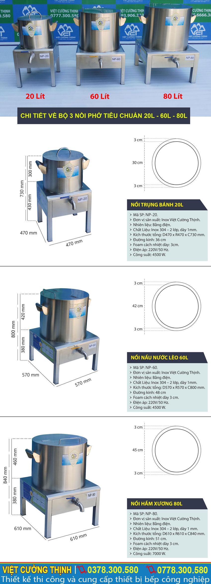 Thông số kỹ thuật Bộ 3 Nồi Nấu Phở Điện Tiêu Chuẩn 20L-60L-80L
